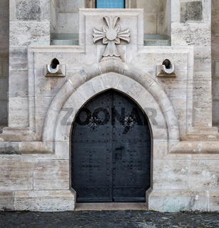 Ancient door of Matthias church. Budapest. Hungary