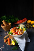 Lobster - crab salad with pasta