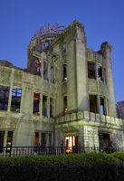 The skeletal ruins of Atomic Bomb Dome at the evening. Hiroshima. Japan