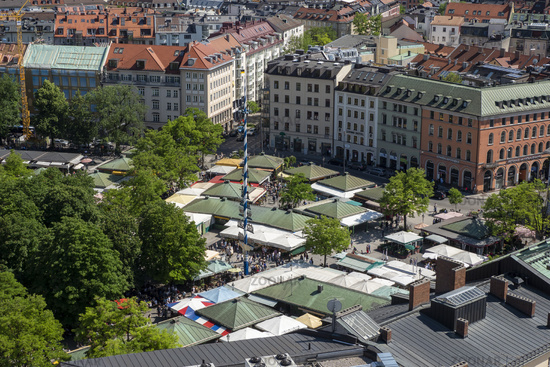 View from Church Tower of St. Peter to Viktualien Market with May Pole and Market Stalls - Munich