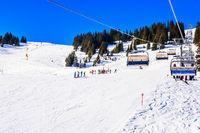 Saalbach, Austria ski slope and chair lift