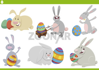 Easter bunnies holiday set cartoon illustration