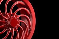Abstract red sports car wheel isolated on a black background 3d illustration with Copyspace for your text