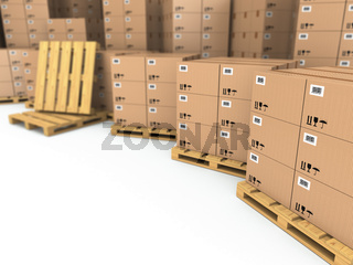 Storage. Cardboard boxes on pallet.