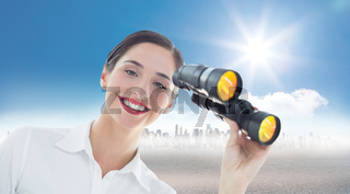 Composite image of smiling business woman with binoculars