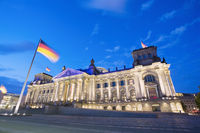 Wide angle view of the Reichstag at dusk