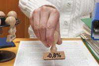Stempel Minus 0,8 Prozent| stamp minus 0,8 percent