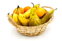 Healthy food. Organic fruits and vegetables, bananas, clementines,