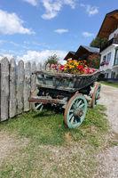 mit Blumen geschmückter alter Holzkarren auf der Taseralm