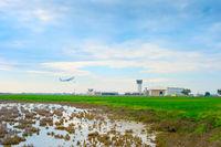 Airplane take-off  Larnaca airport Larnaca Cyprus