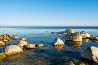 Beautiful ocean coast with myriad stones.