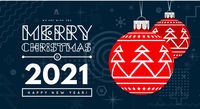 Congratulations on New Year 2020 and Christmas with red Christmas balls with a trendy design on the background. Memphis geometric design elements. Vector illustration