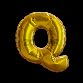 Golden Balloon Letter Q, Realistic 3D Rendering