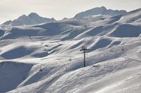 Skiing slopes, snowy Alpine landscape