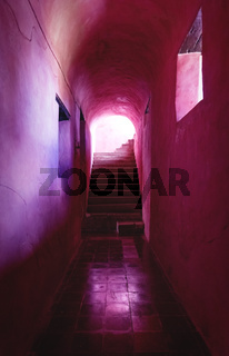 Corridor and staircase of the former monestary Convent de San Bernardino de Siena in Valladolid, Yucatan, Mexico