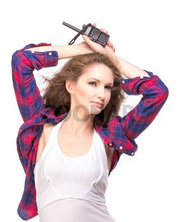 Woman with cb radio