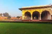 View on Diwan-i-Aam, Hall of Public Audience in Red Fort of Agra, India