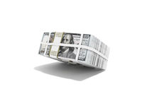 Stack of pack of dollars falling on half 3d render on white background with shadow