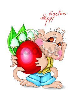 vector illustration Heppy Easter monkey holds flowers lilies of the valley and red egg