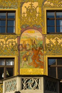 Hoffnung, Fassadenbemalung, größter Freskenzyklus des 16. Jahrhunderts in Deutschland, Verkündigungskanzel, Ulmer Rathaus, Ostseite, Ulm, Schwäbische Alb, Baden-Württemberg, Deutschland, Europa