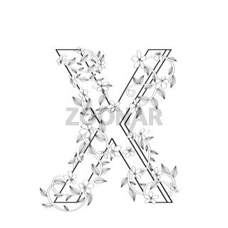 Letter X floral sketch