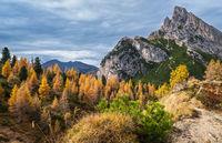Autumn Dolomites mountain scene, Falzarego Pass, Italy