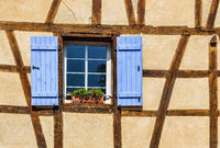 Detail of a specific half-timbered Alsatian house.