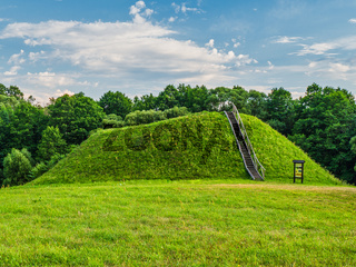 Wooden Stairs to The Top of The Mound. Historic Burial Mound, Lithuania