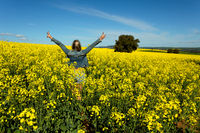 Farm girl in bumper crop of canola