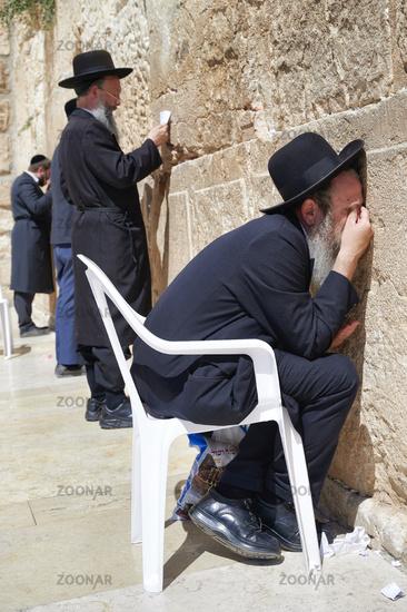 Jerusalem Israel. Orthodox jews praying at the wailing wall