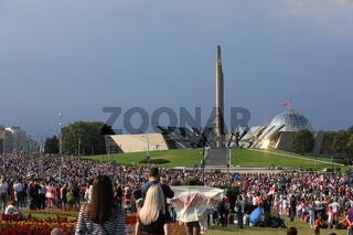 Minsk, Belarus - August 30, 2020: Protests in Belarus