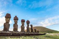 Anakena Beach on Easter Island or Rapa Nui in Chile. Moai at Ahu Nua Nua.