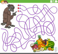 educational maze game with cartoon gorilla and fruits