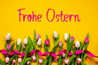 Colorful Tulip, Frohe Ostern Means Happy Easter, Easter Egg, Yellow Background