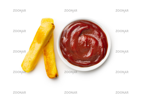 Big french fries. Fried potato chips with ketchup.