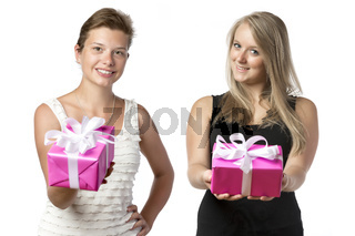Two women with presents
