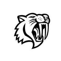 Angry Saber Toothed Cat Head Mascot Black and White