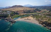 Aerial view on Geropotamos beach and road bridge on Crete, Greece.