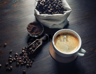 Cup of tasty coffee
