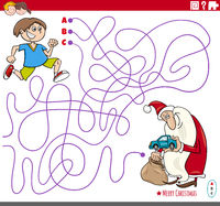 educational maze game with cartoon Santa Claus and boy
