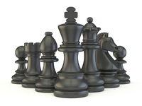 Black chess pieces 3D
