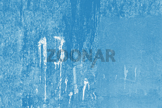 number thirteen written with white paint on dirty blue wall, copy space
