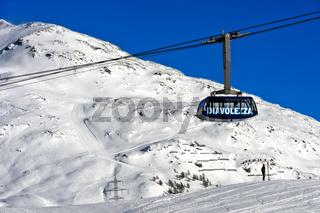 Kabine der Diavolezza Seilbahn, Skigebiet Diavolezza-Lagalb, Pontresina, Val Bernina, Engadin