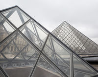 View of Louvre Pyramid at evening.