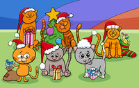 cartoon cats characters group on Christmas time