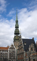 central Riga square with house of Blackheads and st peter's cathedral, Latvia
