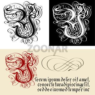 Decorative Gothic Letter Y. Uncial Fraktur calligraphy.
