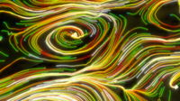 Neon glowing twisted cosmic lines on the surface of the planet. Beautiful swirls, bright turbulence curls flow colorful motion. Fluid and smooth astronomy vortex structure. 3d rendering Abstract creative modern wide background