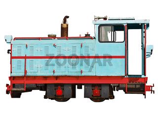 Vintage locomotive for a narrow-gauge railway isolated on white