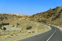 Moderne Asphaltstrasse führt in die Danakil-Ebene, Berhale, Afar Region, Äthiopien